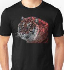 Red Fractal Tiger Unisex T-Shirt
