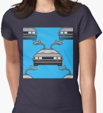 blue Delorean Womens Fitted T-Shirt
