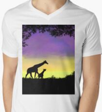 Mother and baby giraffe at sunset T-Shirt