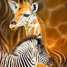 Spots And Strips - Giraffe And Zebra by Carol  Cavalaris