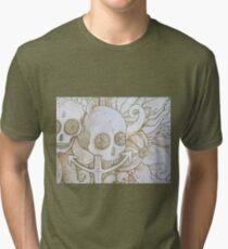 skull in the ocean sketch Tri-blend T-Shirt