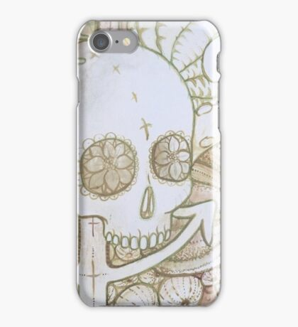 skull in the ocean sketch iPhone Case/Skin