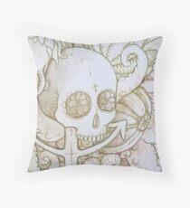 skull in the ocean sketch Throw Pillow