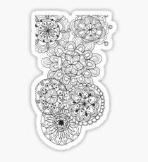 Mandala zentangle black and white cute pretty doodle Sticker