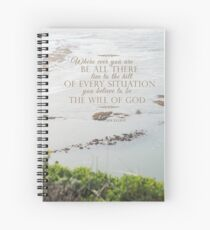 Golden Green Bushes near the Ocean Spiral Notebook