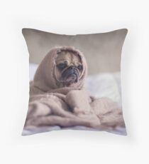 Cute Pug Puppy in Blanket Throw Pillow