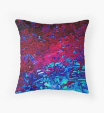 ETERNAL TIDE Bold rich Colorful Deep Purple Fuchsia Magenta Turquoise Royal Blue Ombre Waves Abstract Acrylic Painting Throw Pillow