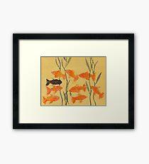 8 Goldfish & 1 Black Framed Print