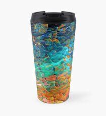ETERNAL TIDE 2 Bold Rainbow Colorful Deep BlueTurquoise Aqua Orange Yellow Ombre Waves Abstract Acrylic Painting Travel Mug
