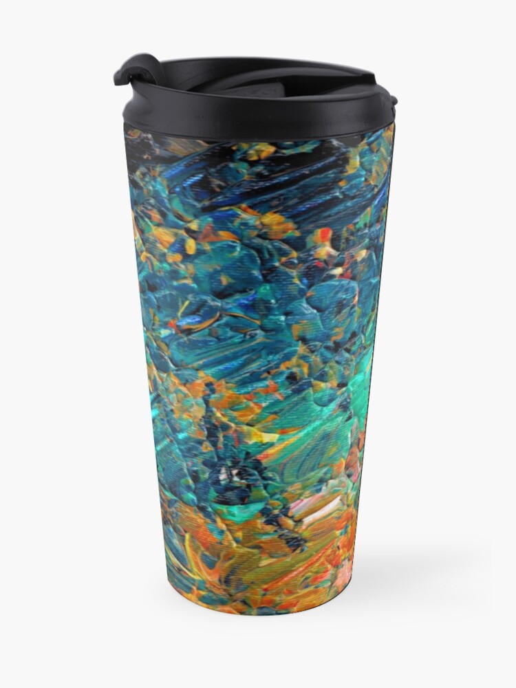 Alternate view of ETERNAL TIDE 2 Bold Rainbow Colorful Deep BlueTurquoise Aqua Orange Yellow Ombre Waves Abstract Acrylic Painting Travel Mug