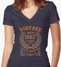Vintage Made In 1967 Distressed Birthday Gift Women's Fitted V-Neck T-Shirt