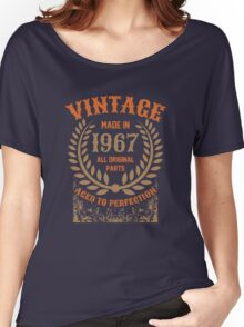 Vintage Made In 1967 Distressed Birthday Gift Women's Relaxed Fit T-Shirt