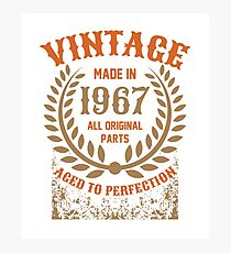 Vintage Made In 1967 Distressed Birthday Gift Photographic Print