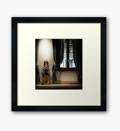 Venice curtains vs hand held video game Framed Print