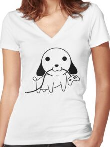 Gamepad Puppy Women's Fitted V-Neck T-Shirt