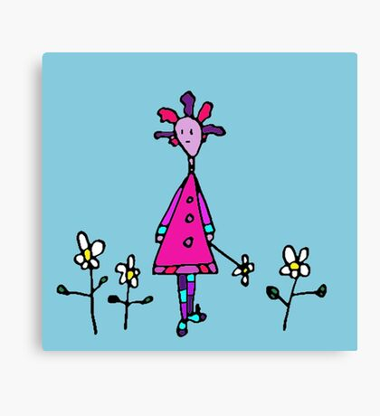 Silly Picked Flowers Canvas Print