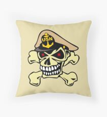 US Navy Chief Skull Throw Pillow