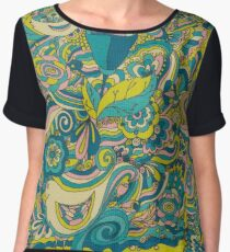 photo of fabric pattern  with birds and flowers Chiffon Top