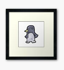 funny cartoon penguin Framed Print
