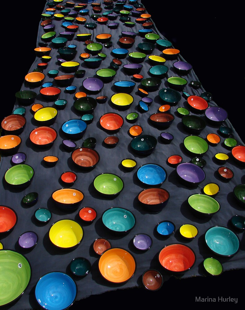 coloured bowls by Marina Hurley