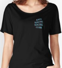 Anti Social Social Club Blue and Red Women's Relaxed Fit T-Shirt