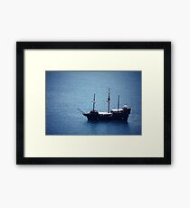 Seascape with old ship Framed Print