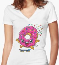 Skater Donut Women's Fitted V-Neck T-Shirt