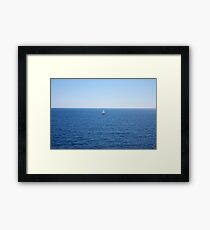 Lonely ship in seascape Framed Print