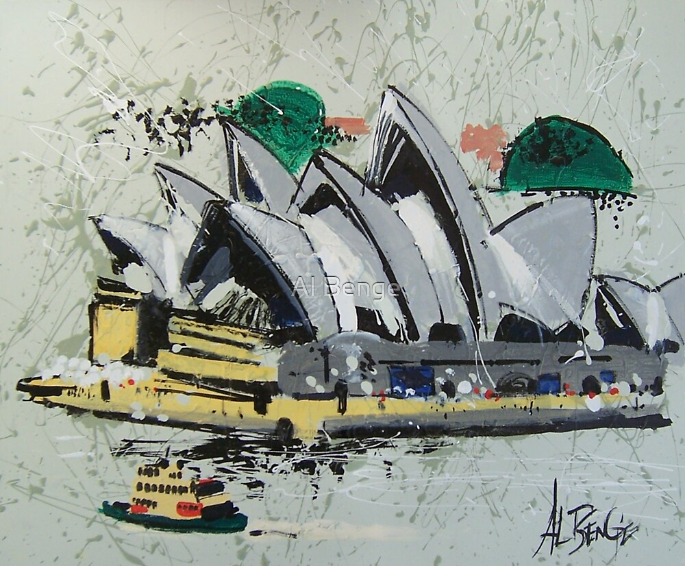 Sydney Opera House - semi-abstract painting by Al Benge