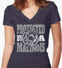 Protected by a Malinois Women's Fitted V-Neck T-Shirt