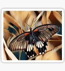 Black, White and Orange Butterfly Sticker