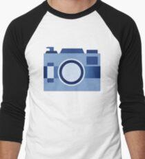 Retro Old-Time Camera, Blue Men's Baseball ¾ T-Shirt