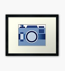 Retro Old-Time Camera, Blue Framed Print