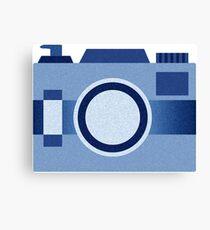 Retro Old-Time Camera, Blue Canvas Print