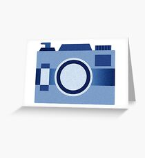 Retro Old-Time Camera, Blue Greeting Card