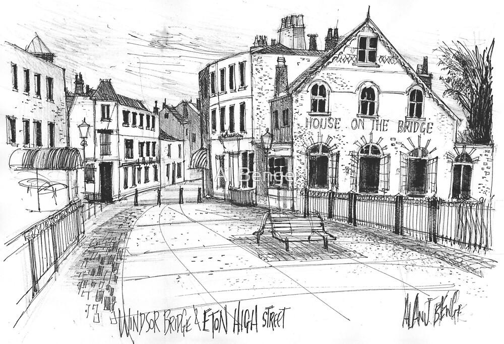 Windsor Eton pedestrian bridge - pen and ink sketch by Al Benge