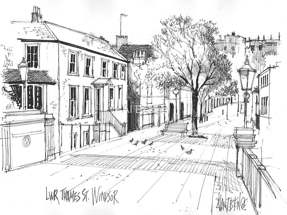 Windsor, England - pen and ink sketch by Al Benge