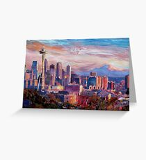 Seattle Skyline with Space Needle and Mt Rainier Greeting Card