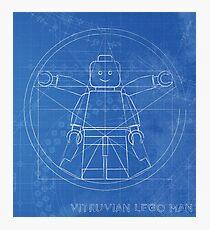 Vitruvian lego man blueprint  Photographic Print