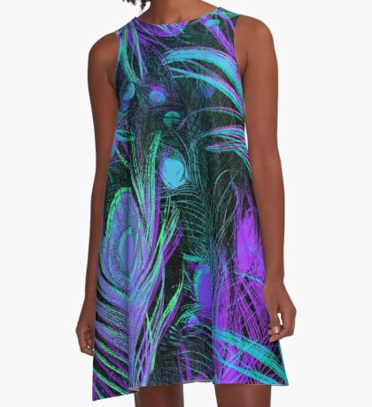 Peacock Feathers by Julie Everhart A-Line Dress