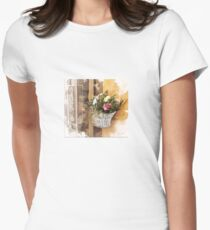 Tuscany. Italy. Cortona. Old city. basket of flowers Womens Fitted T-Shirt