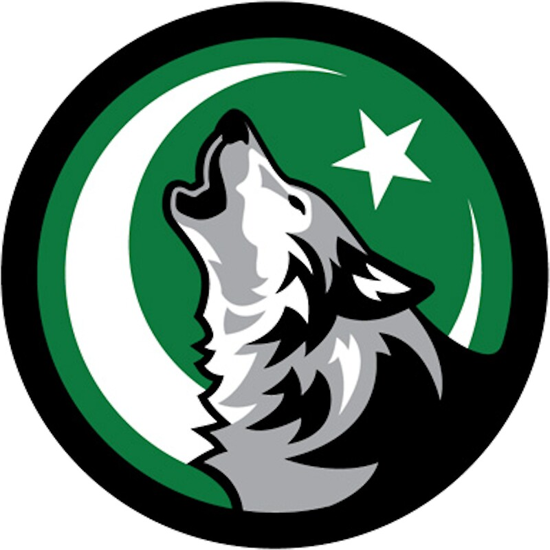"""wolf howling at crescent moon and star"""" stickersfizana 