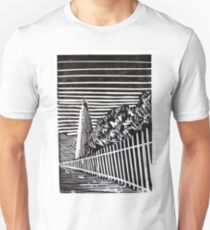 Ocracoke Island Lighthouse- Monoprint Unisex T-Shirt