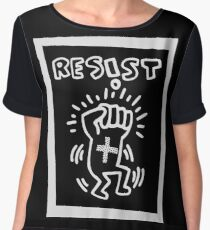 RESIST - H A R I N G - white Chiffon Top
