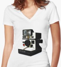 Instant camera Women's Fitted V-Neck T-Shirt