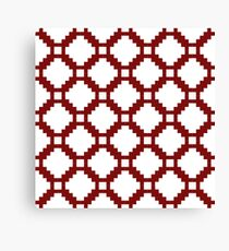Red Pixel life, white color bricks, squares pattern Canvas Print