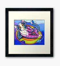 Kitty Gone Tubing Framed Print