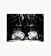 Black White Rain on Eiffel Art Print