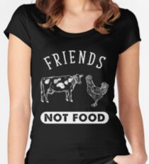 Animal Are Friends Not Food - Vegans Vegetarians Women's Fitted Scoop T-Shirt