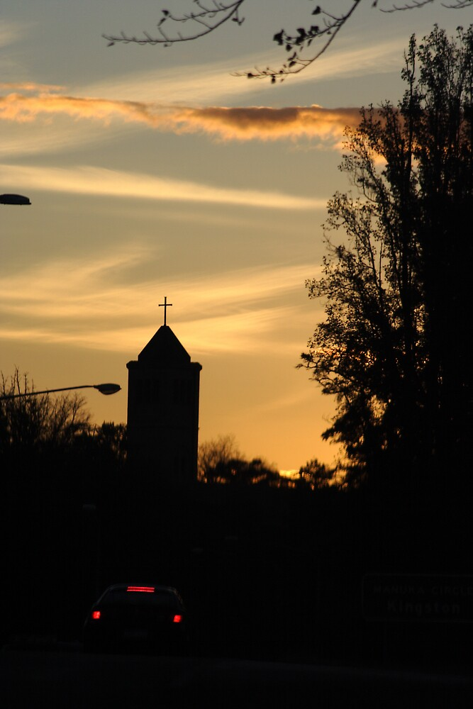 Manuka Catholic Church at Sunset by Cliff Manley